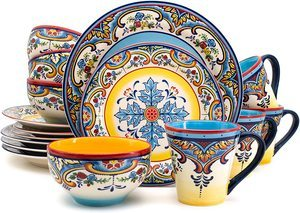 #6 Euro Ceramica YS-ZB-1001 16 Piece Dinnerware Set Zanzibar Collection