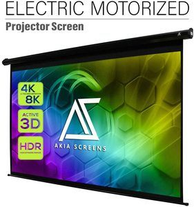 #7.Akia Screens Motorized 125 inch Electric Dropdown Projector Screen