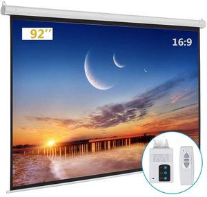 #9. Kshioe Motorized White Projector Screen