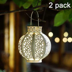#10.MAGGIFT 2 Pack Solar Lights Retro Lantern 6 Lumens