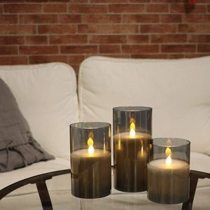 #4. Gray Glass Battery Operated Flameless Led Candles