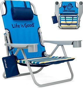 #7. Life is Good backpack chair with drink holder