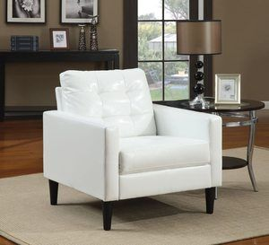 #1.ACME Balin White Faux Leather Accent Chair