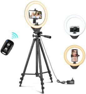 #1. 10'' Ring Light with Stand, 50'' Extendable Tripod