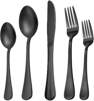 #10. 40 Pieces Silverware Set Matte Black Service