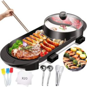 #5. Indoor Electric Grill Korean BBQ Grill 2 in 1 Hot Pot