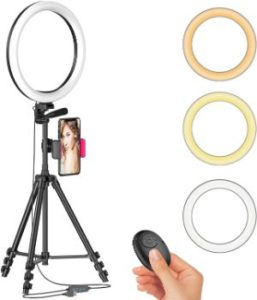 #7. 12 LED Selfie Ring Light Plus Tripod Stand