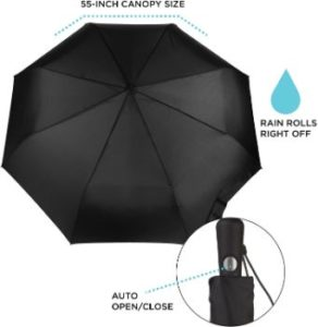 #7. Totes Automatic Large Canopy Umbrella, Easy Open