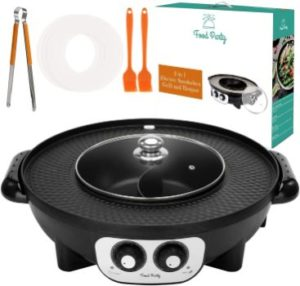 #9. Food Party 2 in 1 Electric Hot Pot and Smokeless Grill