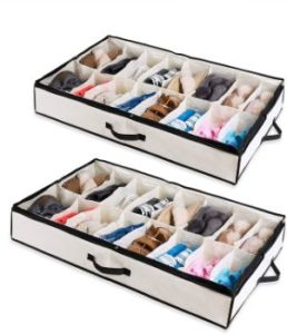 #4. Woffit under Bed Organizer for Shoes Fits 12 Pairs