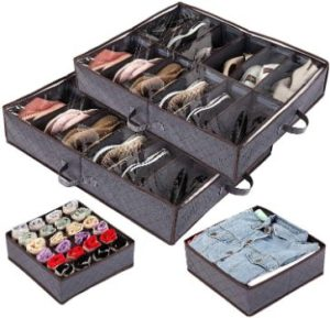 #7. Anyoneer under Bed Storage Organizer for Shoes Set Sturdy Handles