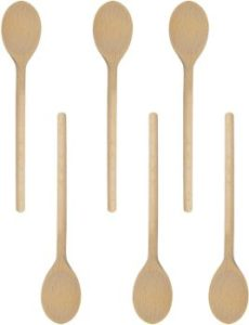 4. BICB 12-Inch Long Handle Wooden Spoons (Set of 6)