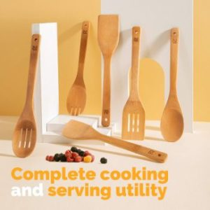 7. Riveira Wooden Spoons for Cooking 6-Piece