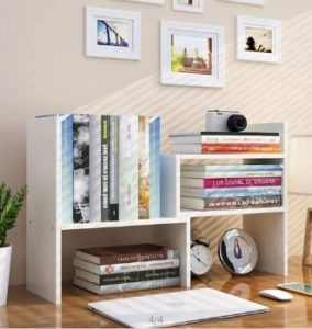 10. TILEMALL Expandable Wood Desktop Bookshelf