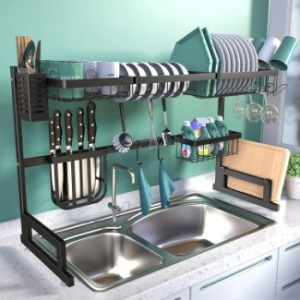 8. BASSTOP Over The Sink Dish Drying Rack