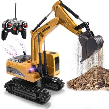 5. Remote Control Excavator Toy with Metal Shovel Lights